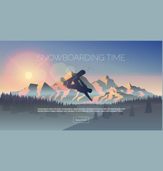 Snowboarding themed web banner vector