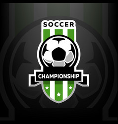 soccer championship logo on a dark background vector image