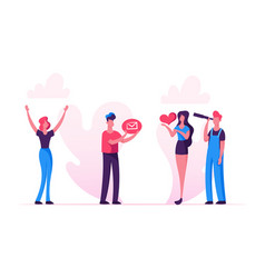 social media relations blog woman hold in hands vector image
