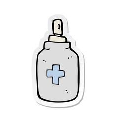 Sticker of a cartoon antiseptic spray vector