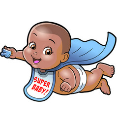 Super baby african american cartoon clipart ai vector
