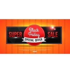 Super Sale Black Friday shining banner on orange vector