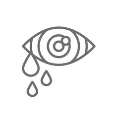 Tears in eye cry allergy line icon vector