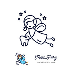 Tooth fairy thin line art icons childrens vector
