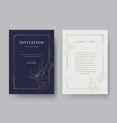 vintage floral luxury invitation card template vector image
