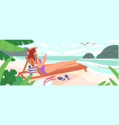woman lying on chaise-longue with cocktail at vector image