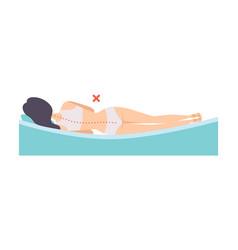 Woman lying on her side incorrect sleeping vector