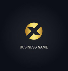 x round initial company gold logo vector image