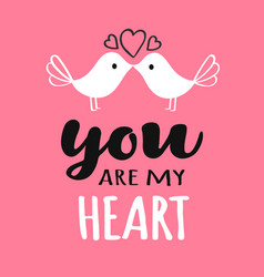 you and me lettering with kissing birds vector image
