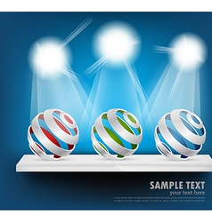 Background with spheres on shelf vector image vector image