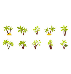double palm tree icon set flat style vector image vector image