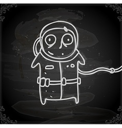 Hand Drawn Scared Astronaut vector image