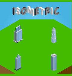 Isometric skyscraper set of exterior urban vector