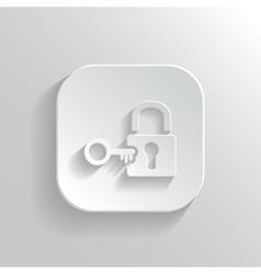 Lock icon - white app button vector image