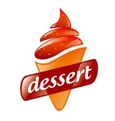 logo strawberry ice cream vector image vector image