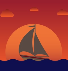 sailboat silhouette over sunset vector image