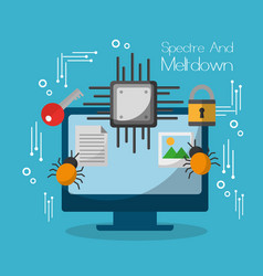 spectre and meltdown computer motherboard virus vector image vector image
