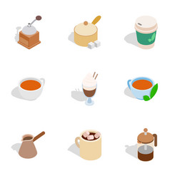 tea and coffee icons isometric 3d style vector image vector image