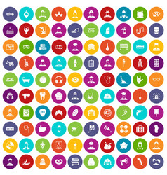 100 different professions icons set color vector