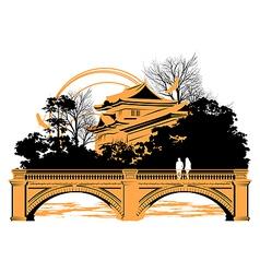 Chinese bridge vector image