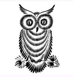 decorative silhouette of a owl vector image
