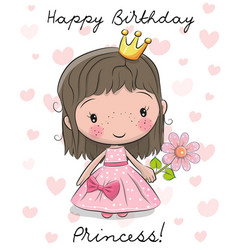 happy birthday card with little princess vector image vector image