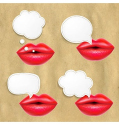Red Lips Set With Speech Bubbles vector image vector image