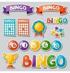 Set of bingo or lottery game with balls and cards vector image