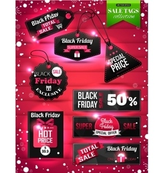 Black Friday Sale paper tags labels and banners vector image vector image