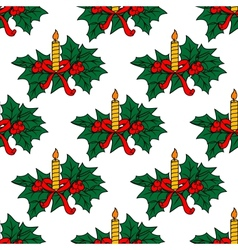 Christmas candles seamless pattern vector image vector image