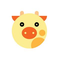 cow cartoon animal head vector image