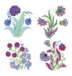 isolated embroidery flowers decorations set vector image