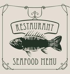 seafood restaurant menu with big fish vector image