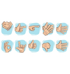 doodle hand sign icons vector image vector image