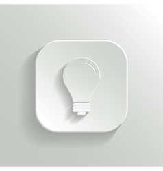 Light bulb icon - white app button vector image vector image