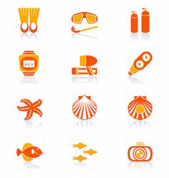 scuba diving icons vector image vector image
