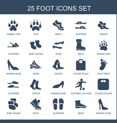 25 foot icons vector