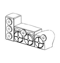 3d model of speaker system on a white vector image