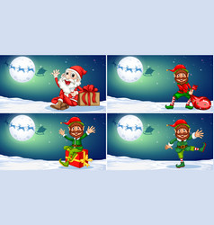 a set of christmas template vector image