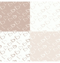 Abstract seamless ink heart pattern vector image