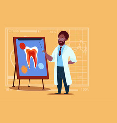 African american doctor dentist looking at tooth vector
