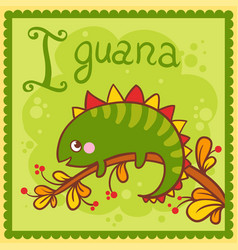 Alphabet letter i and iguana vector