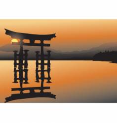 Asian lake vector image vector image