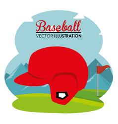 baseball sport helmet icon vector image