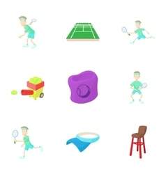 Big tennis icons set cartoon style vector image