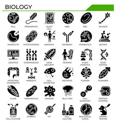 Biology and science glyph design icon set vector