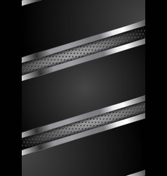 black abstract tech perforated metallic design vector image
