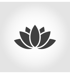 Black lotus icon on grey background vector