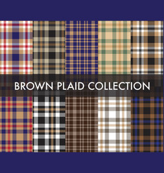 Brown taupe plaid tartan checkered collection vector