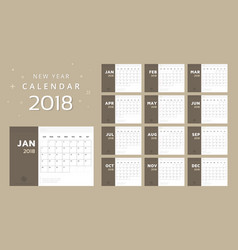 calendar for 2018 white and brown background vector image